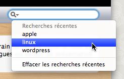 Le bouton de recherche pour Safari