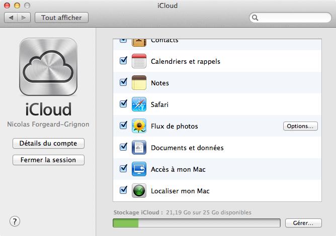 Réglages d'iCloud pour Mac